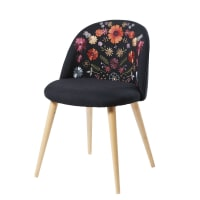 Embroidered Black and Solid Birch Vintage Chair Mauricette