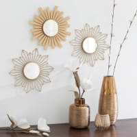 Ensemble de 3 miroirs en métal doré mat D25 Dongi