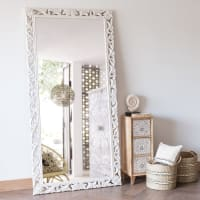 LOMBOK - Espejo de mango tallado blanco 90x180