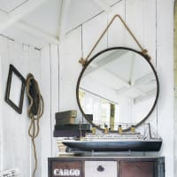 Espejo de metal con efecto oxidado Al. 70cm Cabine
