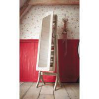 Espejo de pie portajoyas de madera de paulonia blanqueada 42x160 Camille