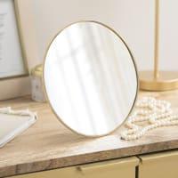 Espejo de sobremesa de metal dorado mate D.20 Elysia