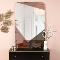 Espejo rectangular de vidrio ahumado y cobrizo 77 x 120 Mia