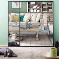 BECKETT - Espejo ventana de metal negro 122x122