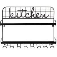 Estante de cozinha em metal preto