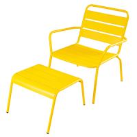 Fauteuil de jardin et repose-pieds en métal jaune Batignolles