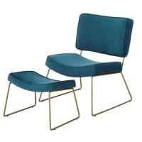 Fauteuil et repose-pieds vintage en velours bleu canard Bayside