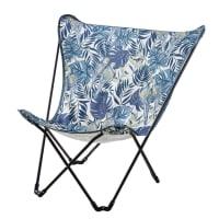 SPHYNX - Fauteuil papillon de jardin pliant en métal noir et toile bleue imprimée