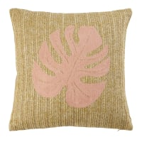 Faux Jute Cushion with Pink Leaf Print 40x40 Sunset