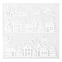 Set aus 3 - Fenstersticker Häuser aus weißem Papier