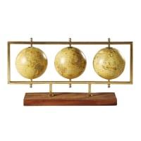 Figura de 3 globos terrestres de metal dorado L.49 New World