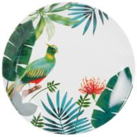 Flacher Porzellanteller mit tropischem Druckmotiv Tropical Bird