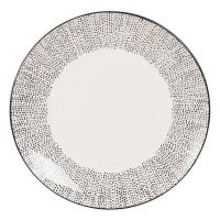 MEKONG - Set aus 6 - Flacher Teller aus Keramik weiß mit Pünktchenmuster