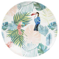Flacher Teller aus Porzellan, bedruckt mit tropischem Motiv Cacatoes