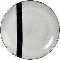 SOLENZARA - Set aus 6 - Flacher Teller aus Steingut, grau und schwarz