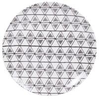 ULRIK - Set aus 6 - Flacher Teller aus Steinzeug mit grafischen Motiven in grau, schwarz und ecru