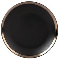 MARCO - Set aus 6 - Flacher Teller aus Steinzeug, schwarz