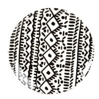 WAIROA - Set aus 6 - Flacher Teller aus Steinzeug, schwarz und weiß, gemustert
