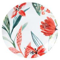 Flacher Teller aus weißem Porzellan mit Blumendruckmotiv Hibiscus