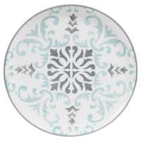 Flacher Teller aus weißem Steingut zweifarbig bedruckt Hectorine