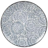Flacher weißer Fayence-Teller mit blauen Grafikmotiven Ischia