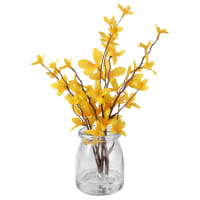 Fleurs artificielles et bocal en verre