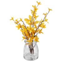 Flores artificiales y tarro de cristal