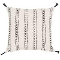 Fodera di cuscino bianca con motivi neriin cotone 40x40cm Rhodes