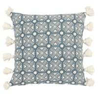 Fodera di cuscino con pompon in cotone blu e écru, 40x40 cm Ama