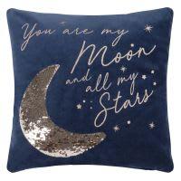 Fodera di cuscino in cotone blu con lustrini dorati, 40x40 cm Luna