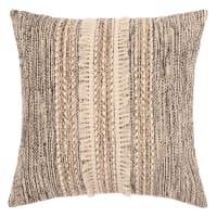 KIDA - Fodera di cuscino in cotone écru, dorato e nero a frange, 40x40 cm