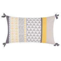 Fodera di cuscino in cotone gialla e grigio chiaro, 30x50 cm