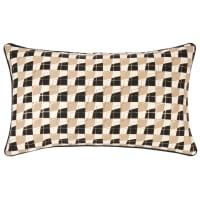 COUMBA - Lotto di 2 - Fodera di cuscino in cotone marrone, dorato e écru motivi grafici, 50x30 cm