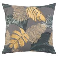NONTHABU - Fodera di cuscino in cotone stampato giallo, verde e grigio 40 cm x 40 cm