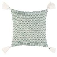 ARCOSSO - Fodera di cuscino in cotone verde ed ecru con pompon 40 cm x 40 cm