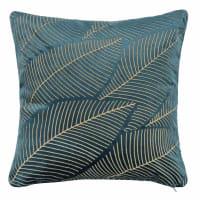 QUIQUINA - Fodera di cuscino in velluto con stampa a foglie, 40x40 cm