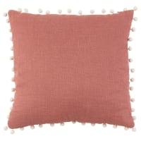 KASSITA - Fodera per cuscino color terracotta con pompon beige 40 cm x 40 cm