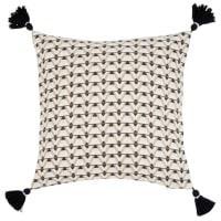 MARULI - Fodera per cuscino con motivi geometrici écru, beige e neri 40x40 cm