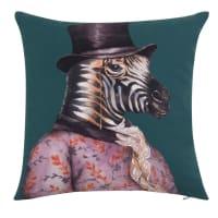 ANDREW - Fodera per cuscino in cotone bio con motivo animale fantastico blu anatra, rosa e nero 40x40 cm