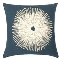 IMATRA - Fodera per cuscino in cotone blu motivo ricamato bianco, 40x40 cm