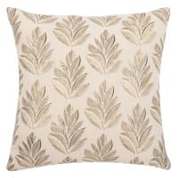 CROYDON - Fodera per cuscino in cotone con stampa a foglie beige, nero e dorato 40x40 cm
