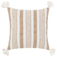 SARAGOSSE - Fodera per cuscino in cotone e iuta marrone ed écru 40x40 cm