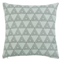 ALEM - Fodera per cuscino in cotone e lino blu con stampa nera 40x40 cm