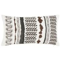 HOPLAND - Fodera per cuscino in cotone e lino lavato stampato écru, grigio antracite e bruno 30x50 cm
