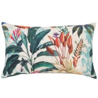 GODALMING - Fodera per cuscino in lino e cotone con stampa a foglie multicolore 30x50 cm
