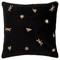 PRINCLEY - Fodera per cuscino in velluto nero con animali ricamati dorati 40x40 cm