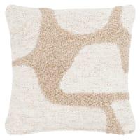 MULEN - Fodera per cuscino intessuta jacquard a rilievo bouclé écru e beige 40x40 cm