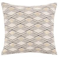 LIBORINE - Fodera per cuscino intessuta jacquard con motivi a rombi beige, nera e dorata 40x40 cm