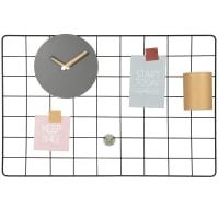 Fotopinnwand mit Uhr und Metallgefäß, 60x40cm