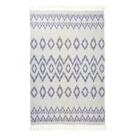 Fouta en coton blanc motifs graphiques bleus 100x200 Gara